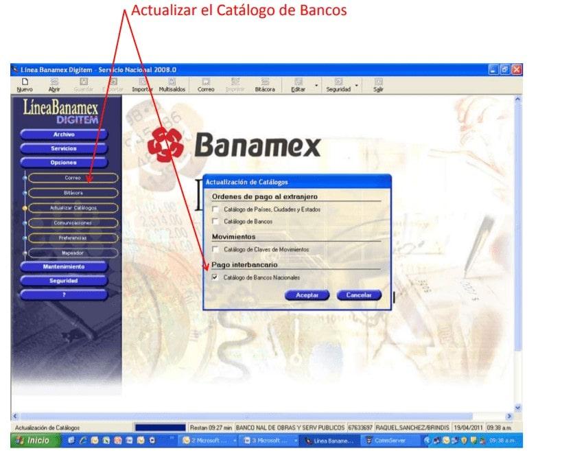 Actualizar el Catálogo de Bancos