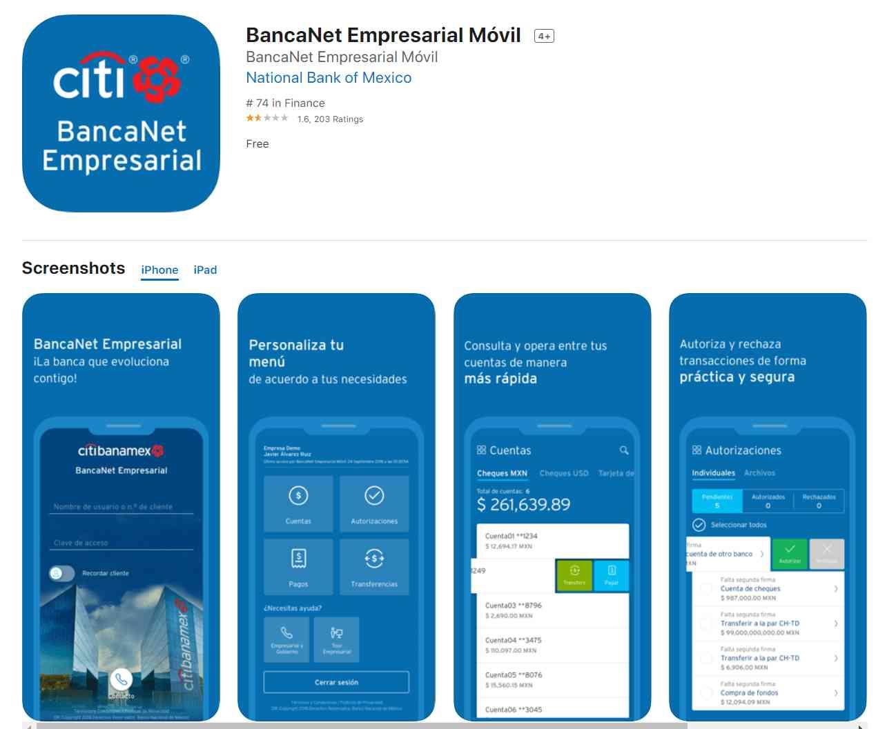 BancaNet Empresarial Móvil en Apple App Store