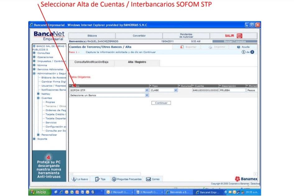 Seleccionar Alta de Cuentas Interbancarios SOFOM STP