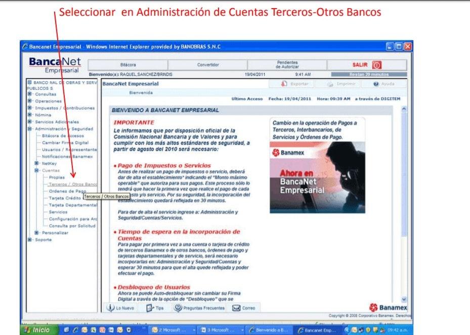 Seleccionar en Administración de Cuentas Terceros-Otros Bancos
